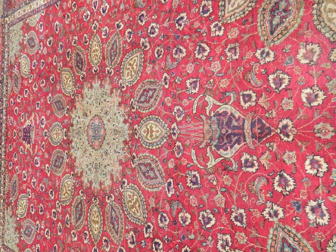 Semi Antique Persian Tabriz Rug 12.6x9.7 - 3