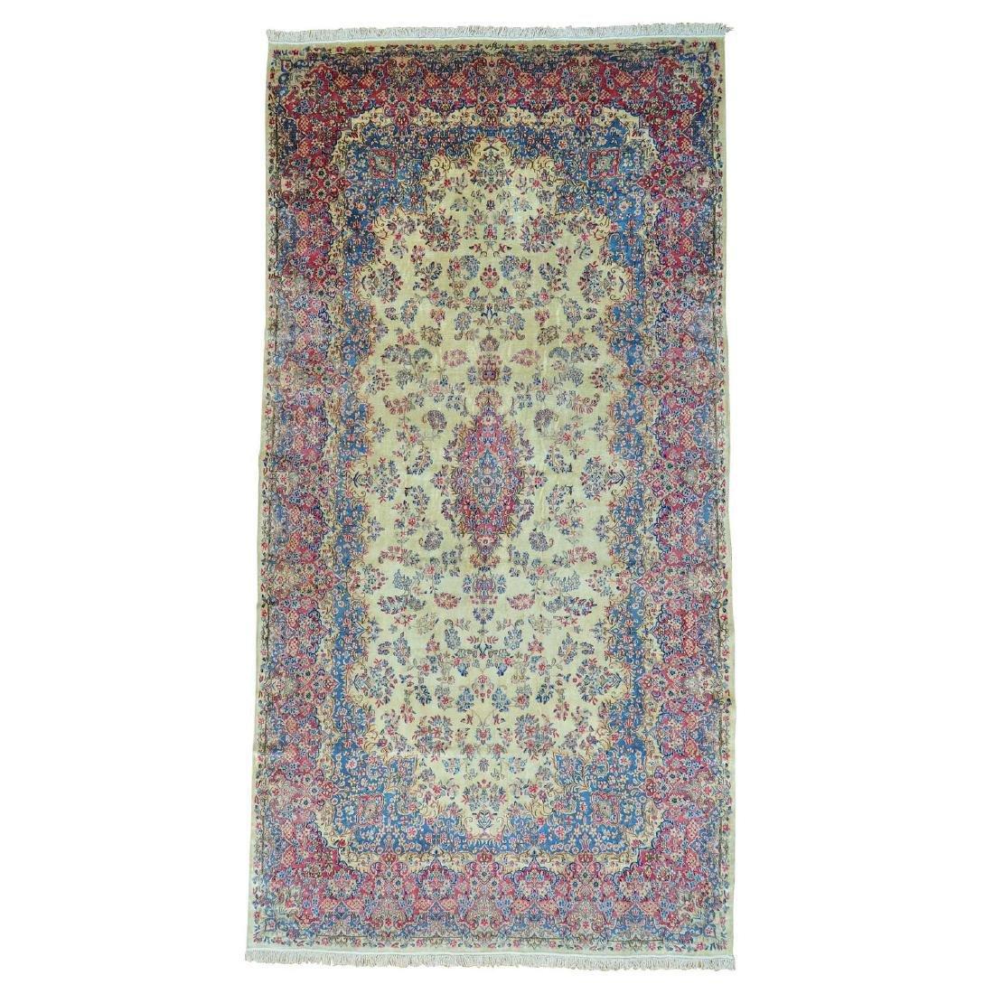 Antique Persian Kerman Gallery Good Rug 9.7x18.5