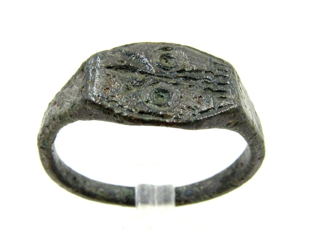 Ancient Roman Bronze Skull Ring