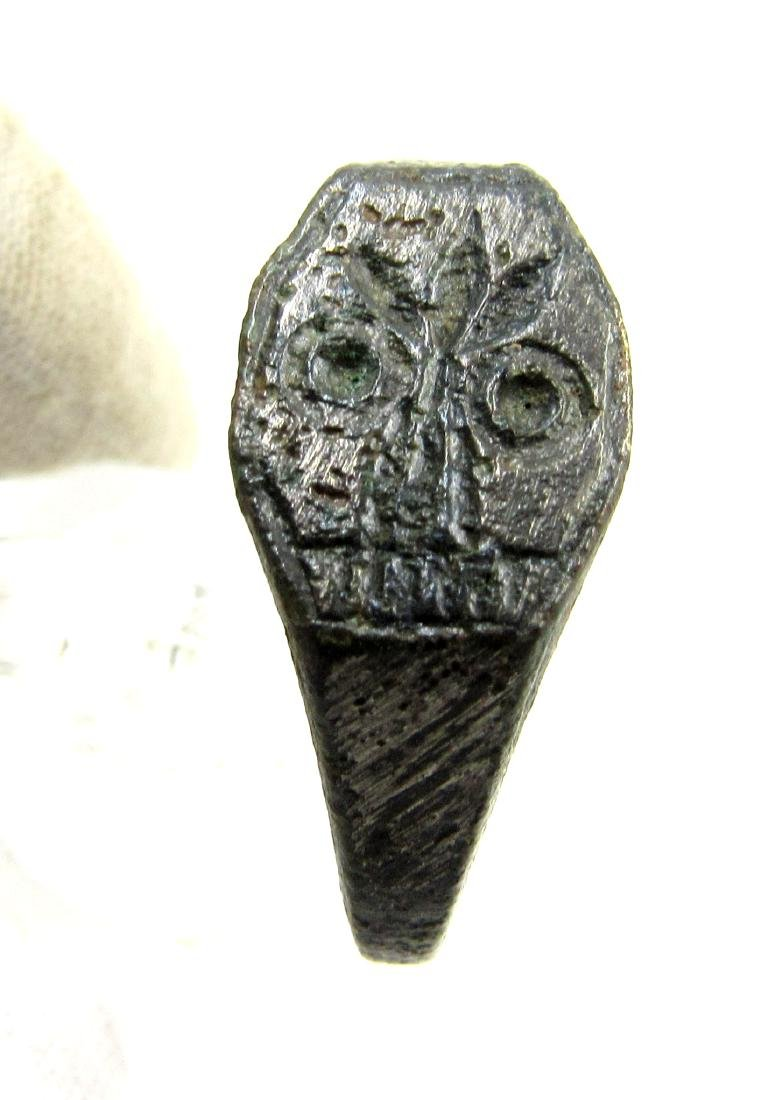 Ancient Roman Bronze Skull Ring - 2