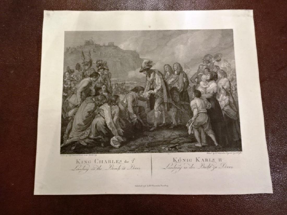 1796 Engraving King Charles Landing at Dover Benjamin