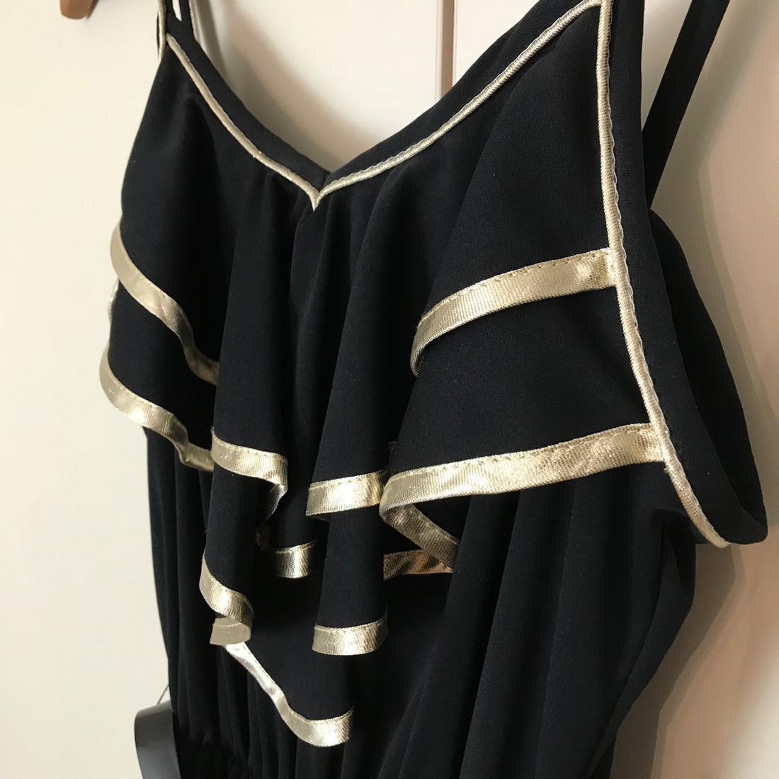 Black / Gold Vintage Designer Dress Size EUR 38 US 8 - 4