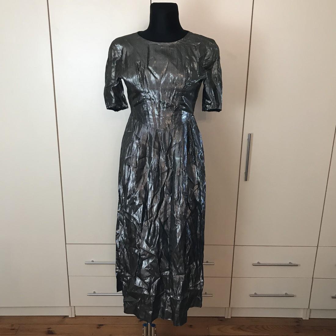 Grey Shiny Vintage Designer Dress Size EUR 42 US 12