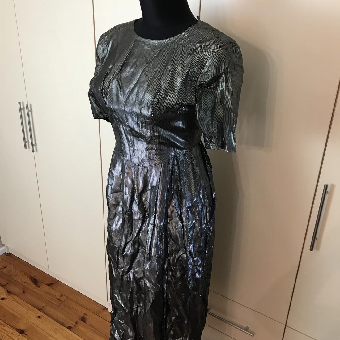 Grey Shiny Vintage Designer Dress Size EUR 42 US 12 - 2