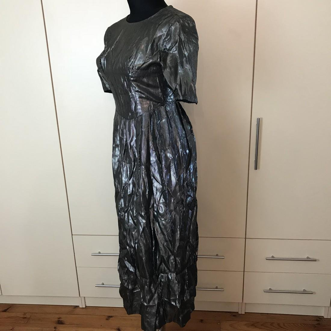 Grey Shiny Vintage Designer Dress Size EUR 42 US 12 - 5