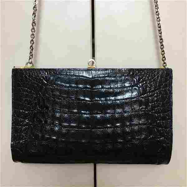 Women's Vintage Faux Alligator Crocodile Leather Black