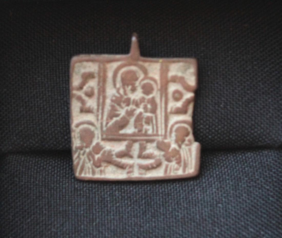 Post Medieval Orthodox Bronze Pendant - 2