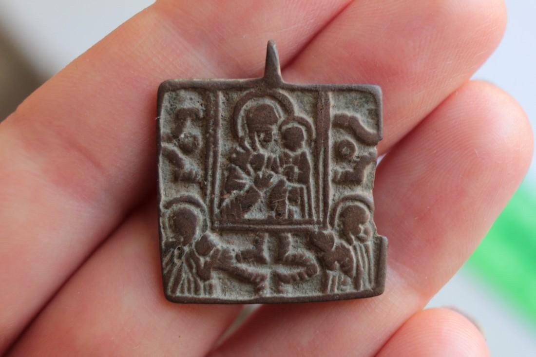Post Medieval Orthodox Bronze Pendant - 3