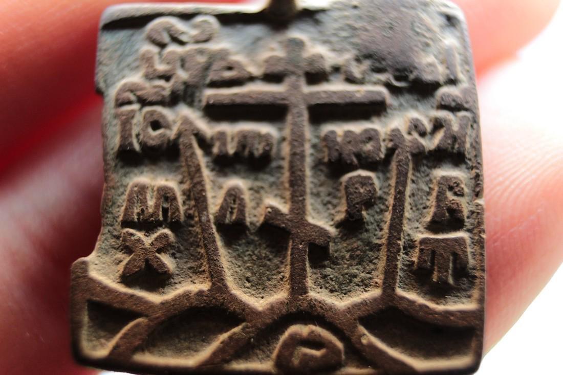 Post Medieval Orthodox Bronze Pendant - 8