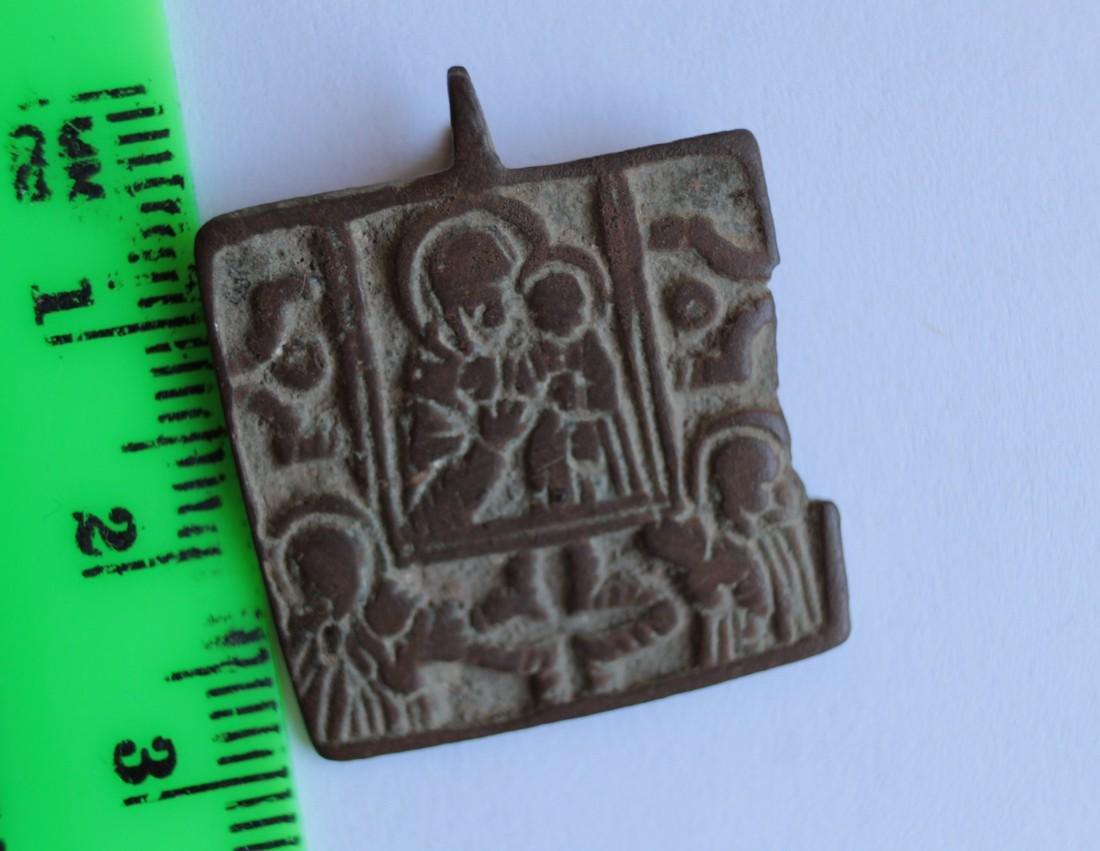 Post Medieval Orthodox Bronze Pendant - 9