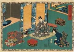 Utagawa Kunisada Woodblock Illustrations of Novel Genji