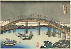 Hokusai Katsushika Woodblock Tenman Bridge