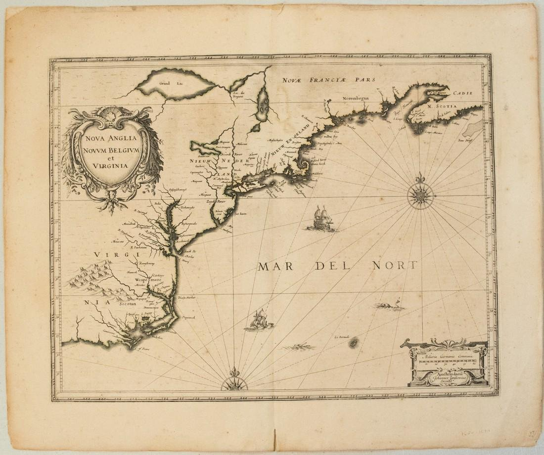 1639 Janssen Map of East Coast of North America -- Nova