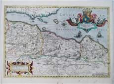 1638 Hondius Map of Edinburgh Environs in Scotland -- A