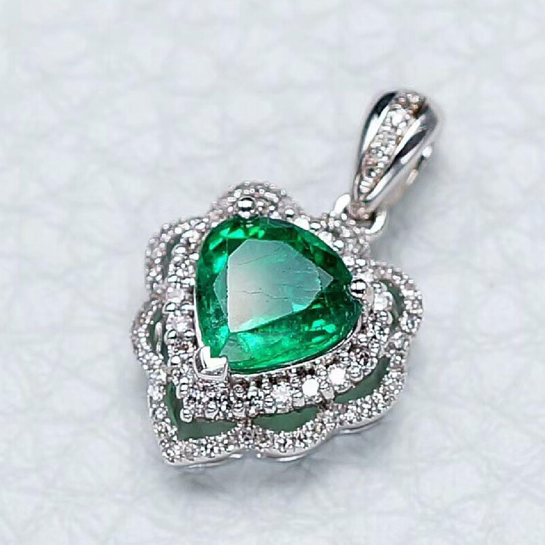 1.37 CTW Emerald & VS Diamond Pendant 18K