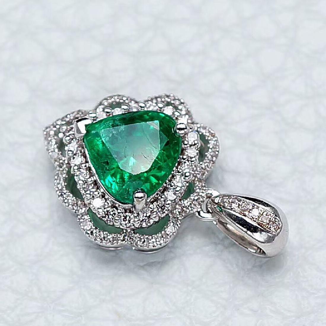 1.37 CTW Emerald & VS Diamond Pendant 18K - 2