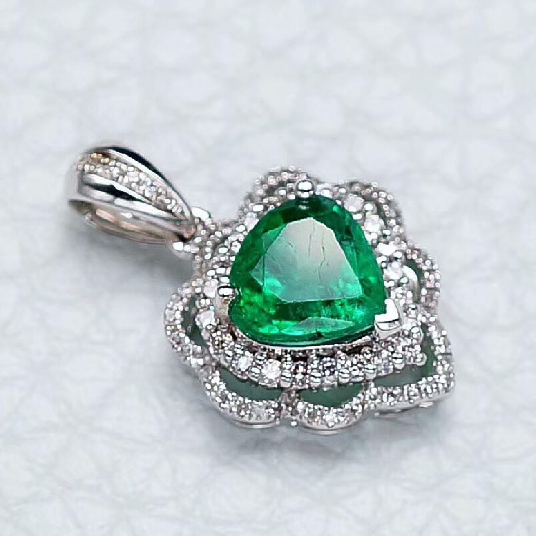 1.37 CTW Emerald & VS Diamond Pendant 18K - 3