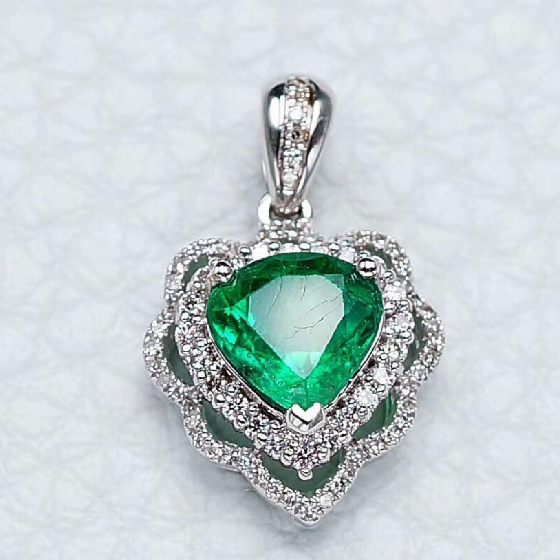 1.37 CTW Emerald & VS Diamond Pendant 18K - 4