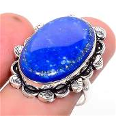 Lapis Lazuli Ethnic 925 Sterling Silver Ring Size 8.5