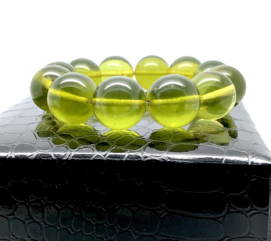 Cut green amber beads bracelet 24.6 gr - 3