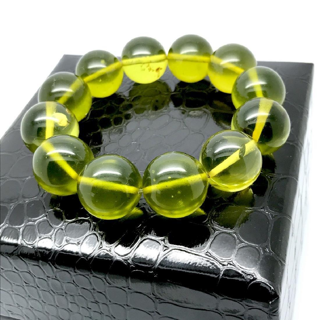 Cut green amber beads bracelet 24.6 gr - 4