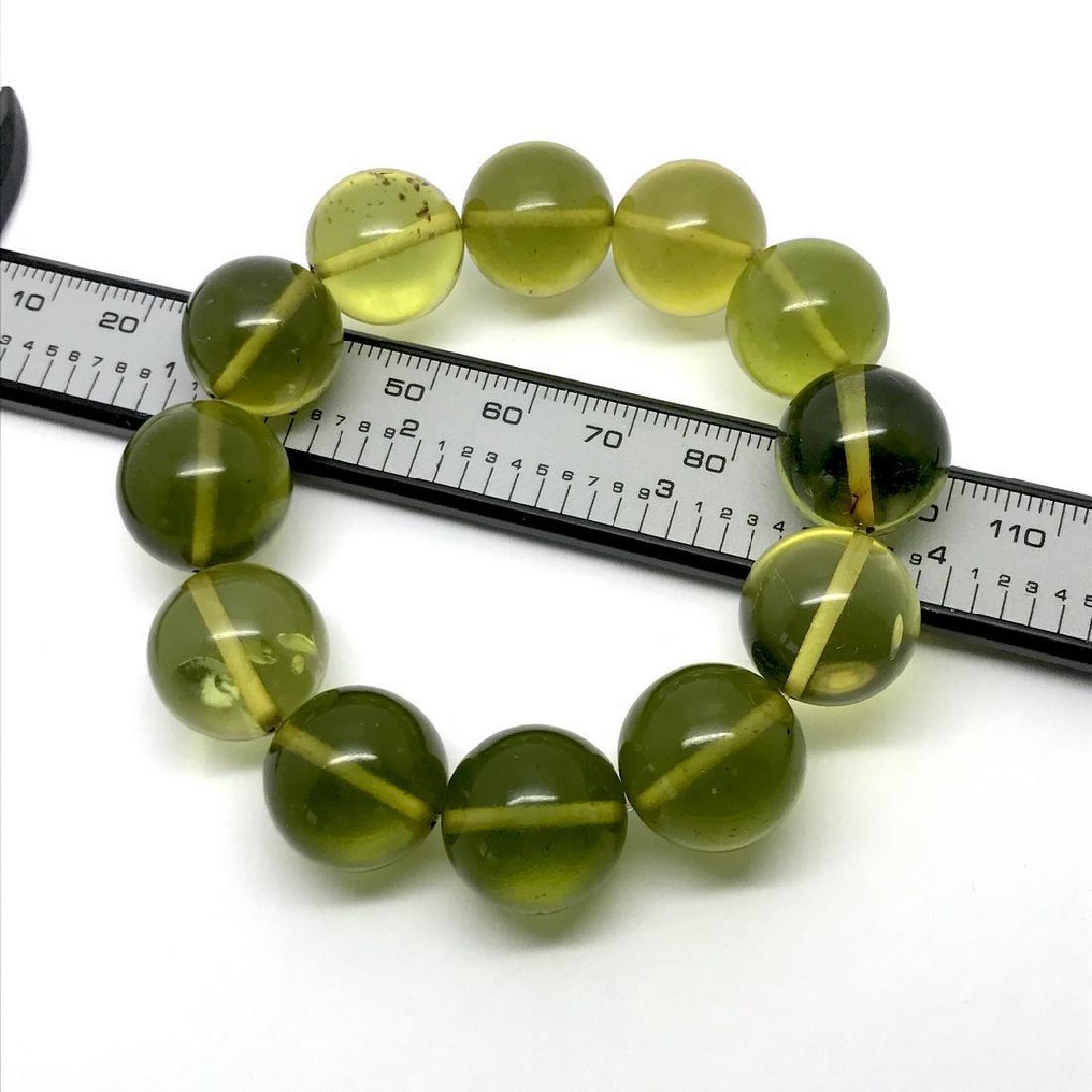 Cut green amber beads bracelet 24.6 gr - 5