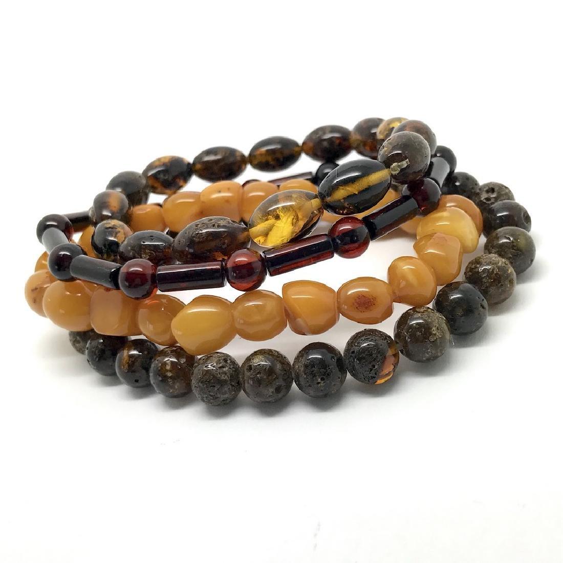 Baltic amber 4x bracelets various colours beads 25 gr