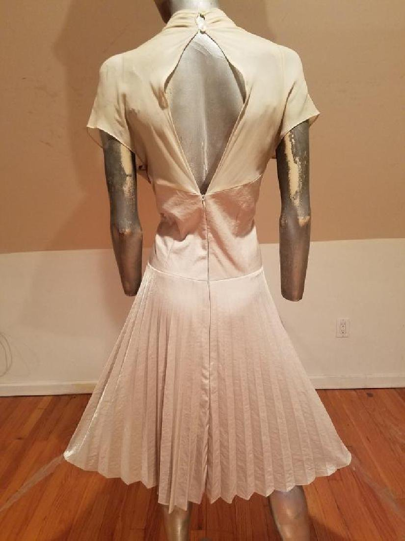 Vtg Beige Floral embroidered satin pleated dress - 7
