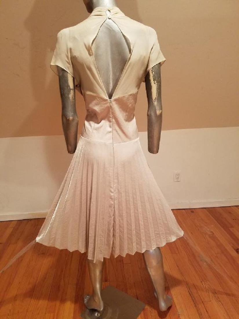 Vtg Beige Floral embroidered satin pleated dress - 8