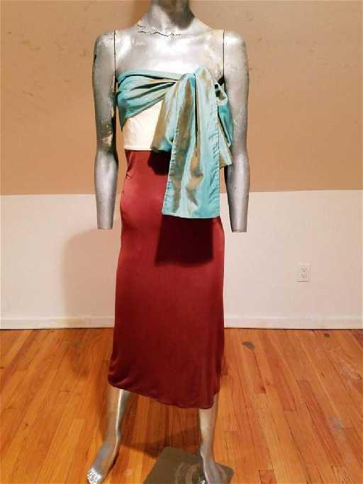a552dd597a86 Jean Paul Gaultier Iconic dress silk sash tie strapless