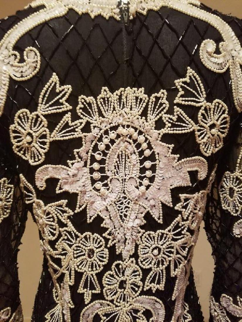Couture silk heavily beaded evening dress - 10
