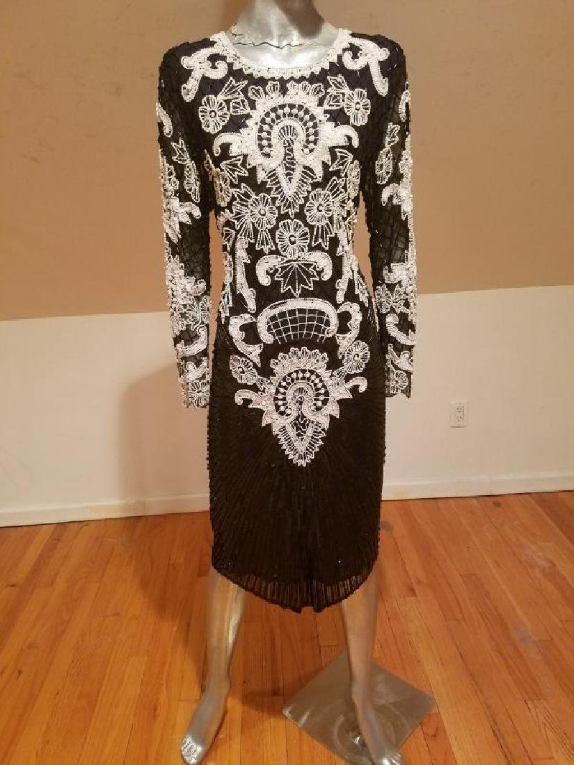 Couture silk heavily beaded evening dress