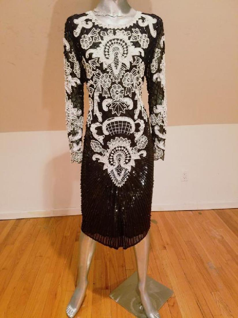 Couture silk heavily beaded evening dress - 3