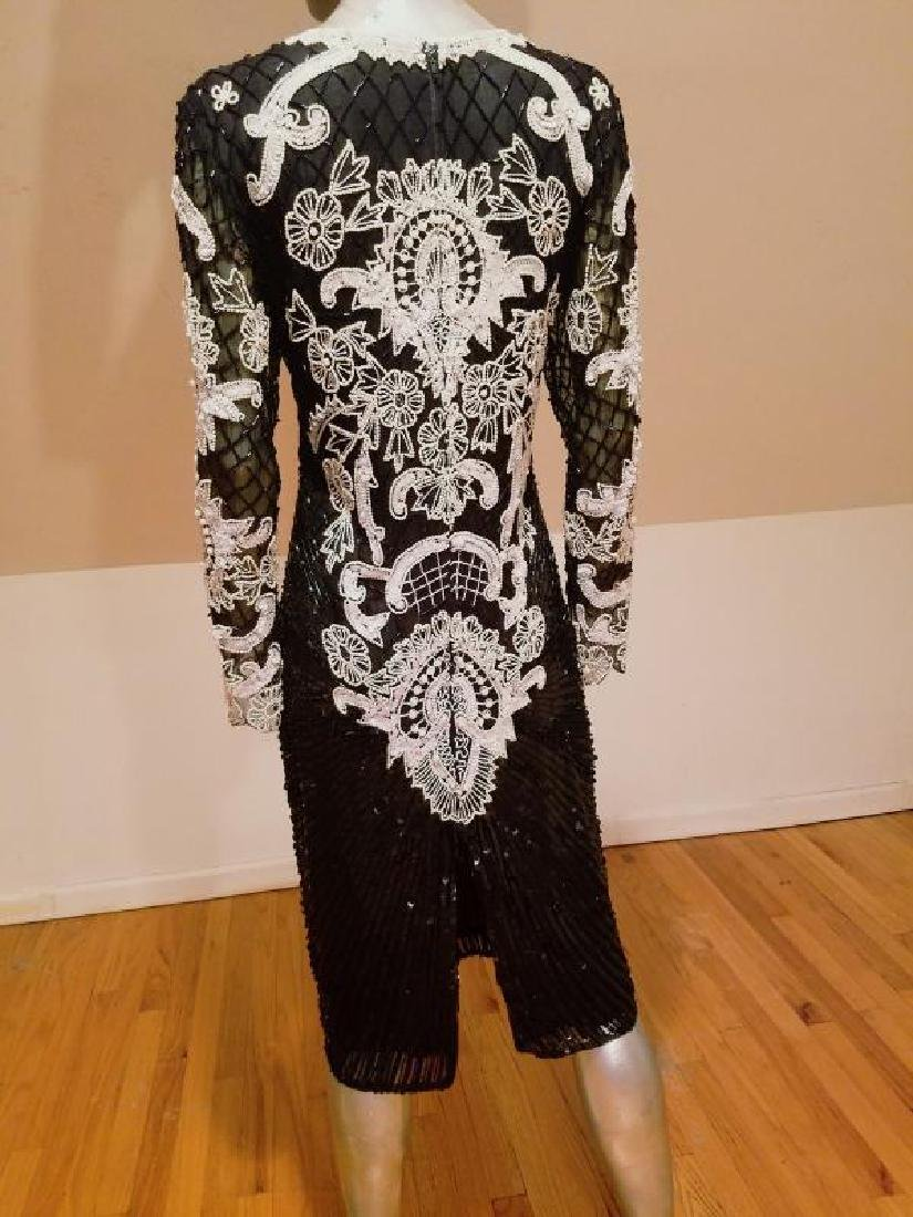 Couture silk heavily beaded evening dress - 7