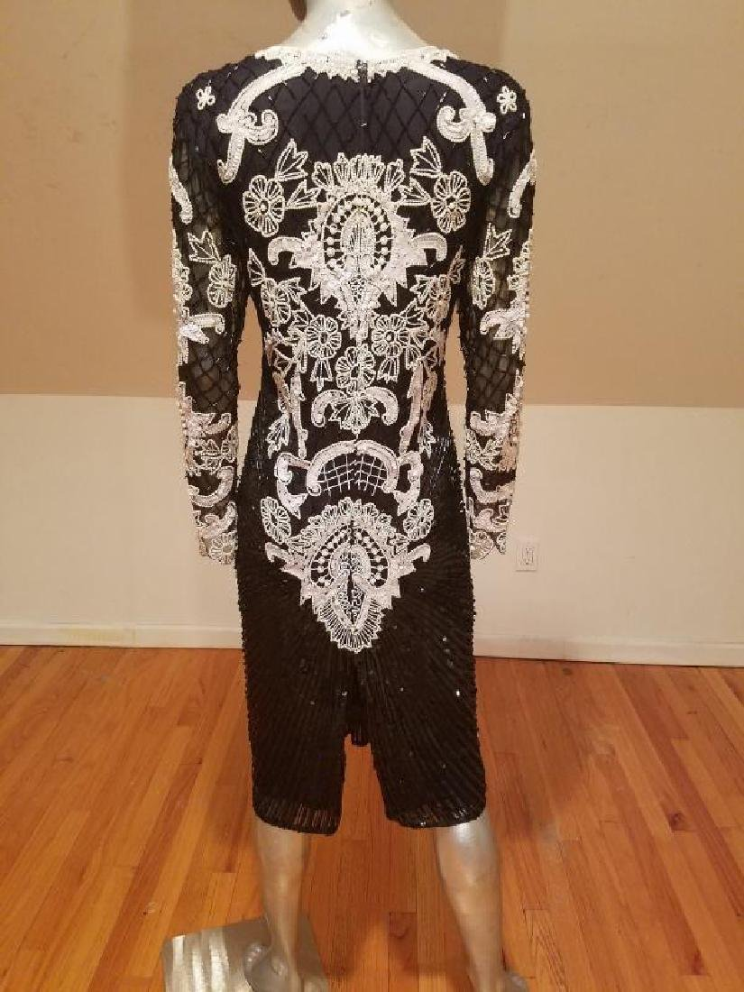 Couture silk heavily beaded evening dress - 8