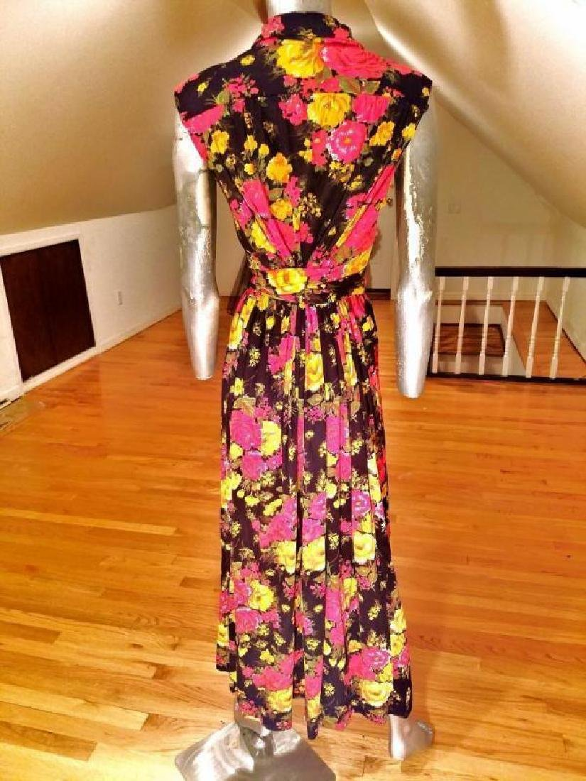 Vtg 1960's brushed jersey maxi floral gown Austrian - 2