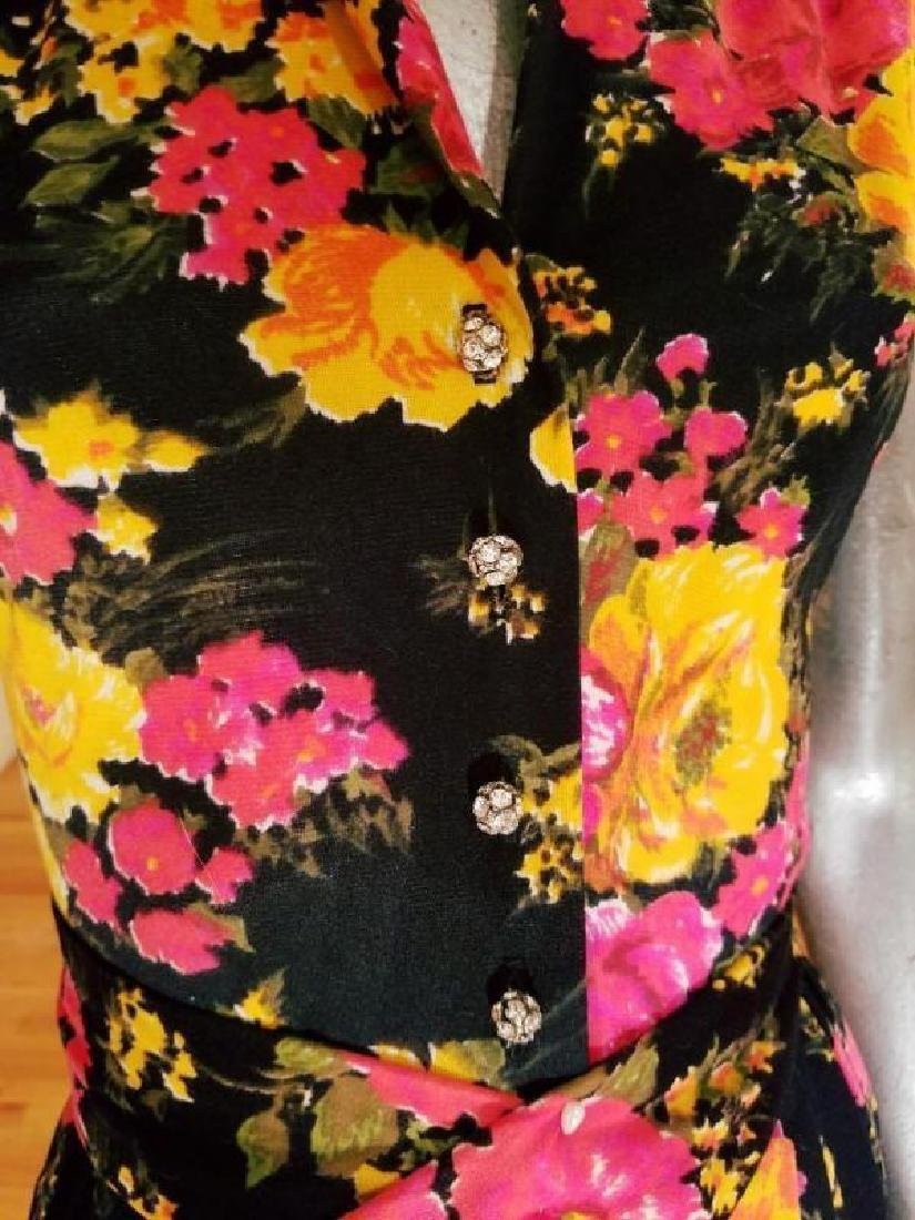 Vtg 1960's brushed jersey maxi floral gown Austrian - 4