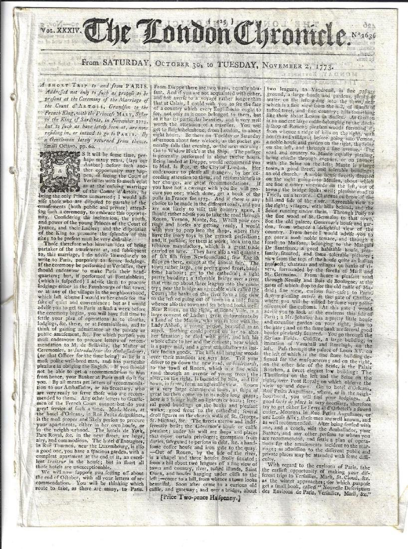 1773 London Chronicle Trip to Paris