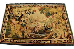Antique French Aubusson Tapestry Wool & Silk Gold 3x5
