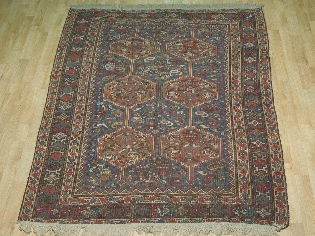Antique Handmade Area Rug Blue 5.4x6.8