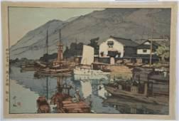 Hiroshi Yoshida (1876-1950) Woodblock Tomonoura Harbor