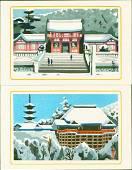 Yamamoto Tomokatsu 2 Woodblocks Temples
