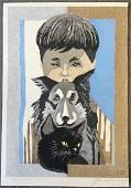 Junichiro Sekino Signed Woodblock Boy With Dog & Cat