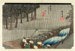 Ando Hiroshige Woodblock Tokaido Station Spring Rain