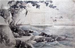 Unidentified Artist Woodblock Rocky Coastline