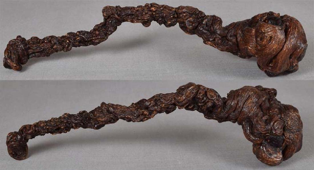 19c Chinese scholar RUYI rootwood Buddhist scepter - 2