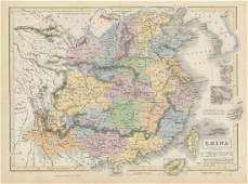China showing provinces & Great Wall. 1842 Treaty