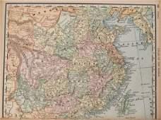 1894 Rand McNally Map of India [verso] China, Palestine