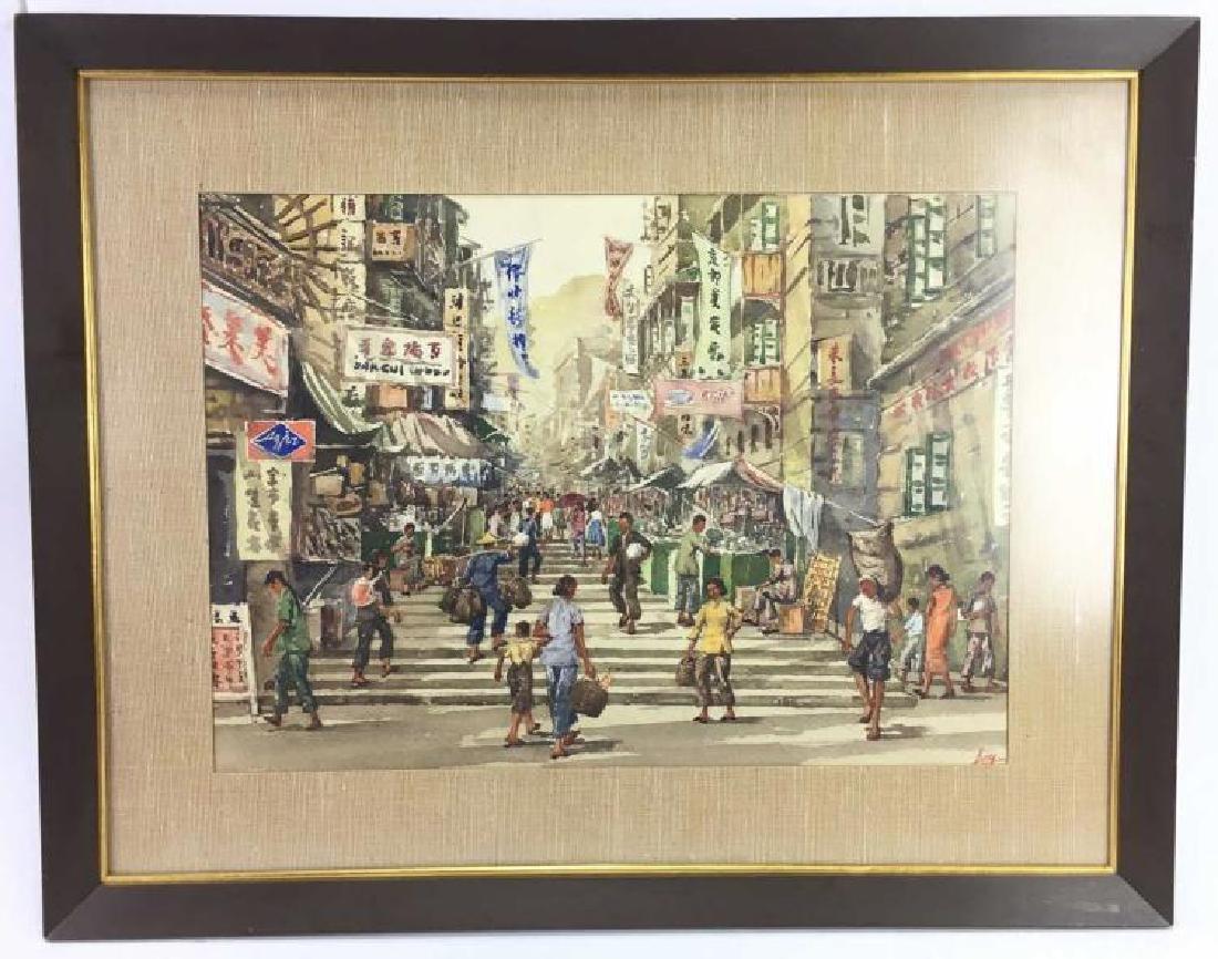 Cheong Ling Watercolor Hong Kong Street Scene