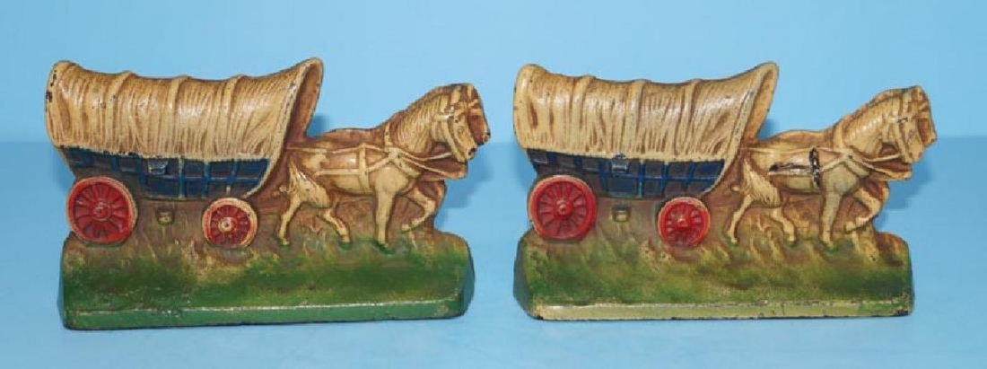 Antique Conestoga Wagon Team Horses Cast Iron Bookends